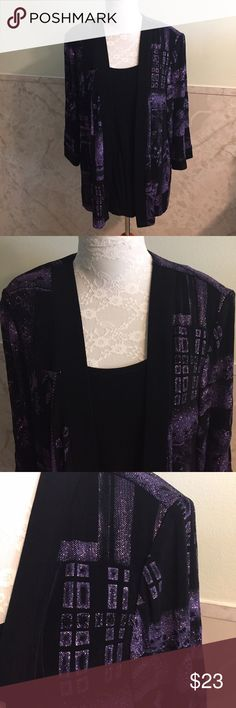 Purple Sparkle Layered Look Attached Top & Jacket This is a glamorous attached black top and jacket with purple glittery threading. It's not glitter so it doesn't rub off. This is stretchy and I believe made from polyester and spandex although I couldn't find a tag. This is a 1x. R&M Richards  Tops Blouses