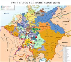 """Holy Roman Empire in Although B would have considered himself German (the """"Rheinland"""" was his home), there was no Germany as we know it. It was a collection of city states under the HRE. La Sarre, Otto Von Bismarck, Holy Roman Empire, Alternate History, Family Genealogy, European History, Kaiser, Historical Maps, Family History"""