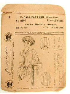 Antique Vintage Circa 1900 McCall 2697 Ladies Dress Pattern