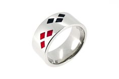 White Gold Harley Quinn Wedding Ring with Black and Red Enamel accents.