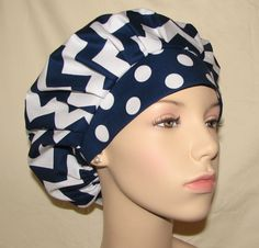 Bouffant Surgical Scrub Hat - Chevron Classic Navy And White on Etsy, $12.50