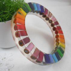 Resin Bangle  Bracelet  Colored Pencil  Bangle Bracelet by miceart, $15.00