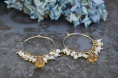 gold hoop pearl earrings tutorial #jewelrymaking