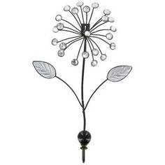 dark brown metal bling flower wall hook