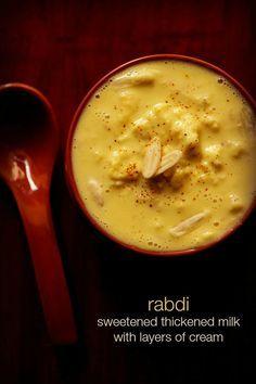 rabri recipe - a traditional indian sweet of thickened sweetened milk with layers of cream #rabri #rabdi