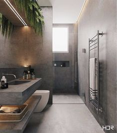 Do you know about the trend for bathroom plants ? This 'quick fix' for bathroom ideas makeovers is already set to to be one of the biggest style trends bathroom remodel of Read Bathroom Layout, Modern Bathroom Design, Bathroom Interior Design, Modern Interior Design, Interior Design Inspiration, Bathroom Ideas, Bath Ideas, Bathroom Goals, Kitchen Design