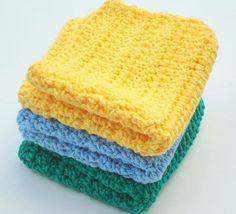 3 Crochet Cotton Wash Cloths - Yellow, Blue, Green Washcloths, Wash Cloths - Kitchen or Bathroom - Home Decor by HoookedBathandBody, $12.00