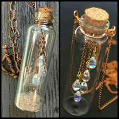 Rain in a bottle (with some extras my daughter asked for) # nailedit Bottle Jewelry, Bottle Necklace, Tree Of Life Ring, Tiny Gifts, Beading Projects, Business Ideas, Wire Wrapping, Jewelry Ideas, Lantern