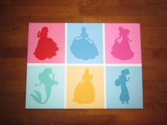 12 x 16 Hand Painted Disney Princess Silhouette by TheLovelyLucy, $25.00