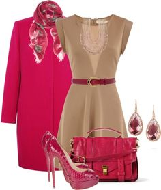 """""""Nude and Raspberry"""" by brendariley-1 on Polyvore"""