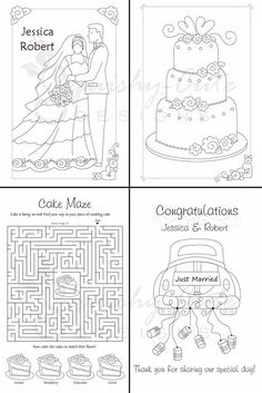 wedding coloring book kids wedding favors personalized printable pdf wedding activity book - Printable Books For Kids