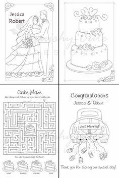 Wedding Coloring Book - Kids Wedding Favors - Personalized & Printable PDF Wedding Activity Book - Full Sheet Book. $5.99, via Etsy.