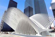 Design for the transportation hub at the World Trade Center site (NY City, US) 2004 by Santiago Calatrava (Valencia, 1951).