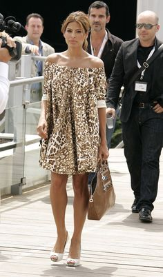 Eva Mendes Style Evolution: Channeling a more casual vibe, but just as sultry, in a wild-print mini and heels at the Cannes Film Festival in Dress Outfits, Casual Dresses, Fashion Outfits, Summer Dresses, Womens Fashion, Dress Fashion, Traje Casual, Mode Chic, Classy Women