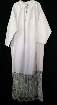 White Linen Alb w Lace Skirt XL as Is Priest Vestments Church Clergy Apparel | eBay