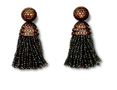 White Gold, Brown Diamonds, Diamond Tassel earrings from Hemmerle. www.masterpiecefair.com