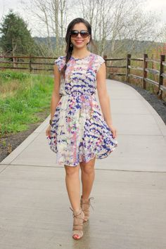 Flowy floral print dress. Nude wedges. Stitch fix spring summer fashion trends 2016. Get your own stylist for only $20!!
