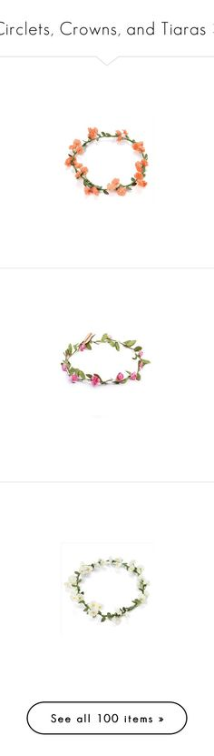 """""""Circlets, Crowns, and Tiaras 3"""" by lilacmayn ❤ liked on Polyvore featuring accessories, hair accessories, flower crown, headbands, bridal floral crown, bride flower crown, bridal headband, floral crown headband, floral headband and flower crowns"""