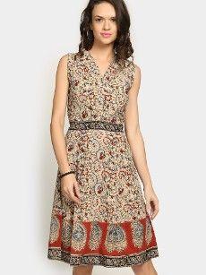 Fabindia Women Beige Kalamkari Print A-line Dress