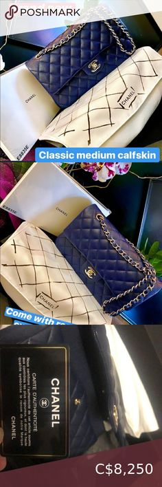 Chanel Classic medium Calf skin Brand new! Chanel Bags, New Bag, Authenticity, Calves, Dust Bag, Shoulder Bags, Channel, Navy Blue, March