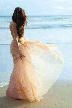 Gorgeous pink gown at the beach! what could be better