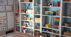 Our Ikea Billy playroom storage solution!