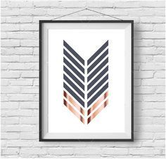 Copper Print Chevron Printable Art Geometric Poster Rose Gold Art Scandinavian Print Minimalist Art Modern Gray Home Decor INSTANT DOWNLOAD