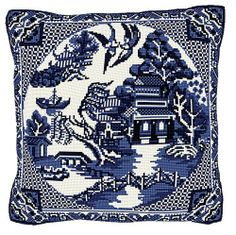 Brigantia Needlework Willow Pattern Tapestry Cushion Front Kit in Tent Stitch Cross Stitch Embroidery, Cross Stitch Patterns, Blue Willow China, Tent Stitch, Tapestry Kits, Willow Pattern, China Patterns, Blue Pillows, Fabric Crafts