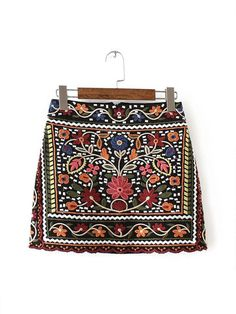 $28.70 Stylish Women Bohemia Floral Embroidery High Waist Slim Skirt - NewChic