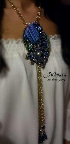 Shibori silk pendant 'Scarabaeus' Bead embroidery soutache design by Mhoara Jewels