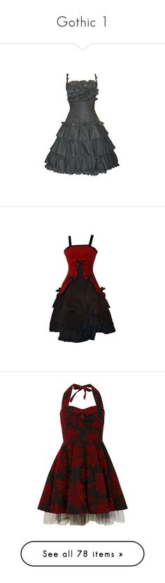 """""""Gothic 1"""" by roseunspindle ❤ liked on Polyvore featuring dresses, vestidos, black, vestiti, gothic lolita dress, gothic clothing dresses, gothic dress, goth dress, short dresses and mini dress"""