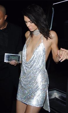 Birthday Suit Silver Sequin Cowl Neck Spaghetti Strap Cut Out Choker Neck Chain Mini Dress - Inspired by Kendall Jenner