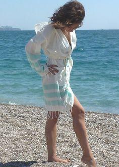 NATURAL Cotton bathrobe  bathrobe by TheAnatolian on Etsy