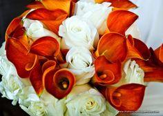 Elegant Wedding Bouquet Featuring: White Roses + Flame Orange Calla Lilies   James Walton Photography   thefrenchbouquettulsa.com