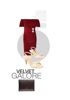 'Velvet Galore' by me on Limeroad featuring Beige Sandals, Solids Red Dresses with None Gold Earrings