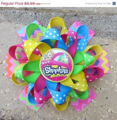 SALE Shopkins Inspired Custom Boutique 3 Layer Loopy Flower Boutique Hair Bow