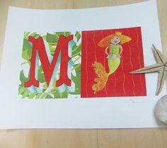 Mermaid illustration for girl's room  Nursery by JaneySuperette