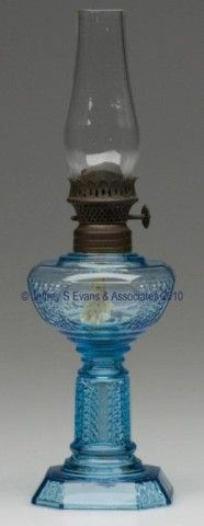 """HULSEBUS I, FIG. 66 / PICKET MINIATURE STAND LAMP, blue, period burner. 5"""" h to top of collar, 2 1/2"""" sq base overall.  Undamaged, burner cone with a dent.  Provenance: From the collection of Jo Ann Dreyer. Kerosene Lamp, Hurricane Lamps, Unique Lamps, Antique Lighting, Serving Trays, Vintage Lamps, Oil Lamps, Cookie Jars, Lamp Light"""