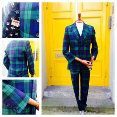 Kilts4All bespoke tartan suit collection. This is a Black Watch 3 piece suit with contemporary skull and cross bone lining