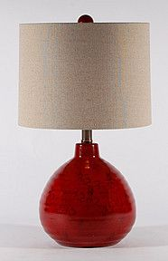 Captivating Short Red Ceramic Lamp By Stylecraft. Table Lamps For Bedroom. $75.00