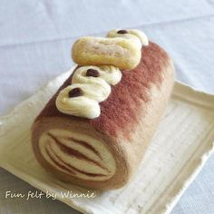 Needle felted Tiramisu ice cream roll cake OOAK handmade