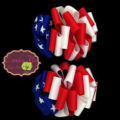 4th of July Pigtails Patriotic Hair Bows Red by EandMeHairBows