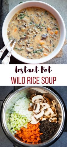 Instant Pot Mushroom Wild Rice Soup Instant Pot Mushroom Wild Rice Soup is a creamy vegetarian dish that is packed with protein and veggies. This easy mushroom soup is the best way to warm up on a cold day! Easy Mushroom Soup, Instant Pot Dinner Recipes, Instant Recipes, Vegetarian Recipes Instant Pot, Instapot Vegetarian Recipes, Instant Pot Chicken Soup Recipe, Chicken Wild Rice Soup, Chicken Pasta, Fall Soup Recipes