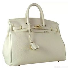35 CM WHITE SOFT LEATHER BIRKIN STYLE BAG W  LOCK Features short double  handles and a leather strip closed by a padlock 3b5bba2afcce8