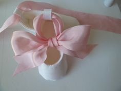 Baby Shoes Pink and White Silk for Baby Girl by JibJabbers on Etsy