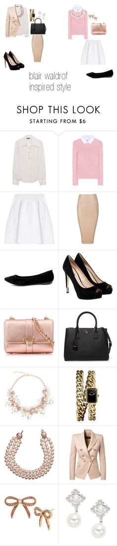"""blair waldrof inspired style"" by fate-loves-cupcakes ❤ liked on Polyvore featuring Plein Sud, Altuzarra, malo, Breckelle's, GUESS, Aspinal of London, Prada, Chanel, Balmain and Betsey Johnson"