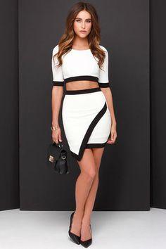 Two-Piece Dress - Black and Ivory Dress - Bodycon Dress - $49.00