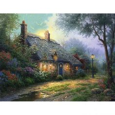 Moonlight Cottage - by Thomas Kinkade (64 pieces)