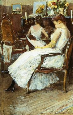 Mrs. Hassam and Her Sister.  Childe Hassam (1859-1935).