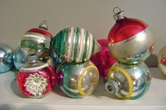 7 Vintage Shiny Brite Christmas Ornaments Stripes Indents and Beehive